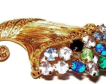 "Brooch Pin Signed B. David Pastel Rhinestones Cornucopia Gold Metal 2"" Vintage"