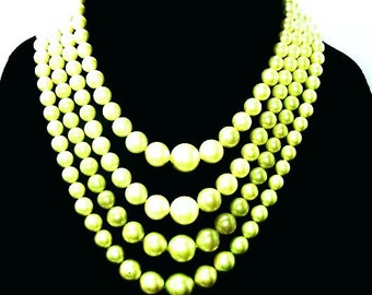 Sage Green Beaded Necklace 4 Strands Gold Findings Hook Clasp Sigmed Japan Vintage 1950s
