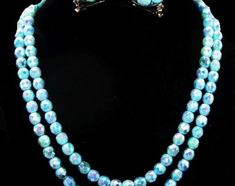Aqua Blue Bead Necklace Earring Set Iridescent Glass Beads 2 Strands Fancy Clasp High End Vintage