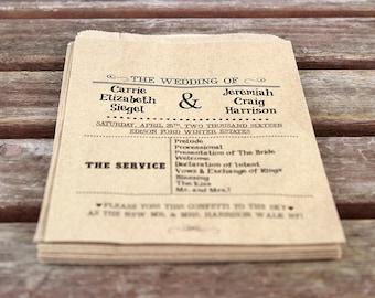 Wedding Ceremony Programs:  Set of 25. Custom Flat Kraft Paper Bag Programs. Rustic Wedding. Wedding Ceremony Decor. Confetti. Shabby Chic