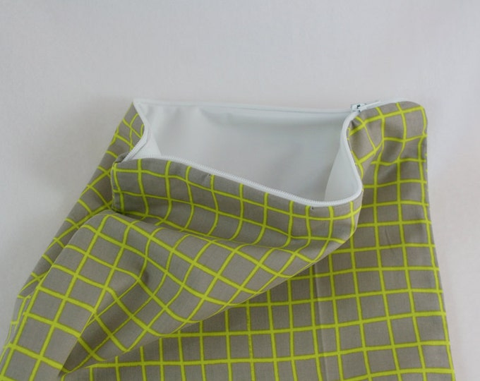 Grey and Green Grid PUL Lined Wet Bag with Zipper Close