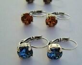 Swarvoski Gemstone Earrings 8mm SIlver Oxidized Drop Earrings
