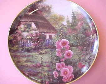 "Beautiful ""Hollyhock Cottage"" Limited Edition Plate by Violet Schwenig"