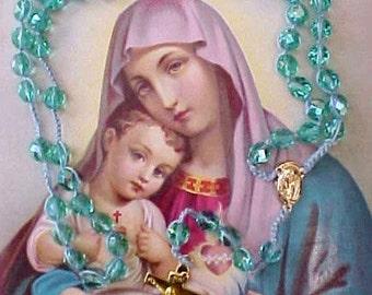 Rosary Made of Beautiful Aqua Colored Beads with Aurora Borealis Finish