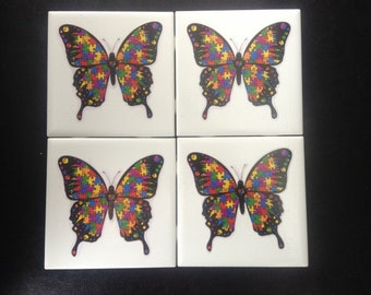 Autism Awareness Ceramic Tile Picture With Easel , Great Gift Idea, Coasters, Trivets also