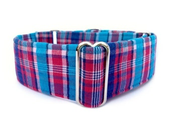 "Blue Raspberry Plaid Dog Collar - Adjustable 1"" or 1.5"" Soft Red, Blue and Turquoise Plaid Martingale Collar or Buckle Dog Collar"