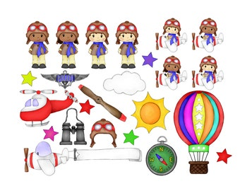 Aviation Kids Clipart - Airplane Clipart - Flying Party - Pilot Clipart - Digital Clipart - PNG - JPG - Hand Drawn - Limited Commercial