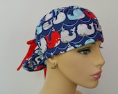 Handmade Turn Up Ponytail Medical Scrub Hat -(S) - Colorful Whales at Sea - 100 % Cotton