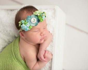 Small Flower Tieback Headband, Twine  Headband, Wedding, Photo Prop, Flower Headband Baby, Photography, - Rain Forest - Fits all Sizes