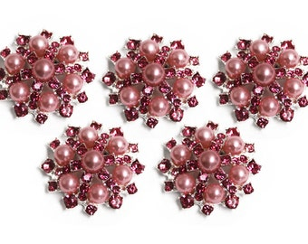 Metal Rhinestone Buttons - Pearl Sunburst Button - SMALL 20mm -Set of 5 - Pink