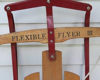 Vintage Flexible Flyer III Snow Sled // winter Fun // Christmas Porch Decor // Prop