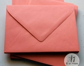 A7 Coral Colored Envelopes Euro-Flap 4 Bar or A6 Paper Set, Baby Shower, Birthday, Wedding Invitations or Response Card Stationery (BCN74A)