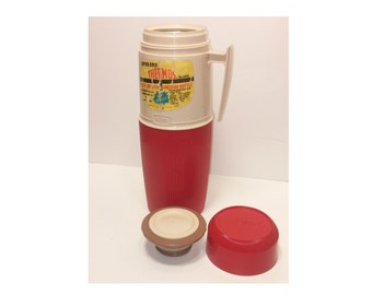 Vintage Quart Sized King-Seeley Wide Mouth Thermos Bottle - Plastic and Vacuum Glass, 1970s, Red & Cream Colored