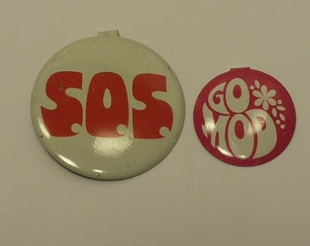 Vintage 1960s metal tabbed button set - SOS and GO MOD - Boho, Hippie, Accessory