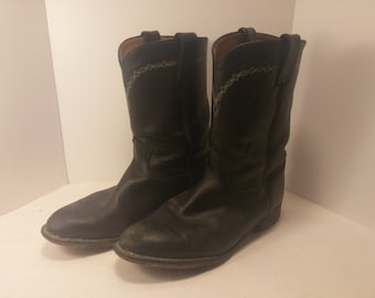 Vintage Justin Black Cowhide Classic Roper Boots - Style 3233 - Size 10 D