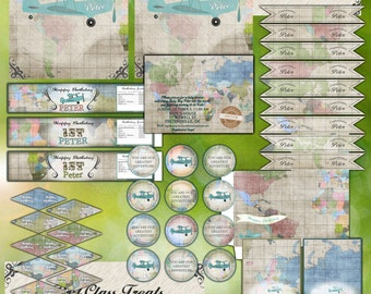 Airplane Birthday Party or Baby Shower - Map Vintage - printables