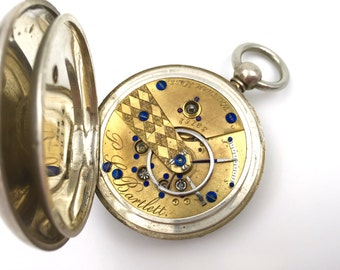 Authentic 1860 Civil War Era Waltham P.S. Bartlett Keywind Pocket Watch in Original Coin Silver Case with Key - Working