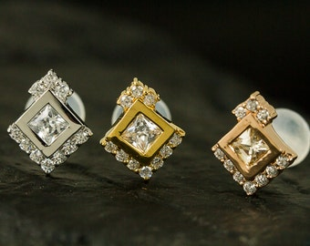 Square CZ diamond half halo setting push in 16 gauge bio flexible Tragus/conch/helix/cartilage earring