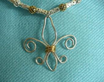Fleur de Lis Handmade Wire-Wrapped Pendant Necklace