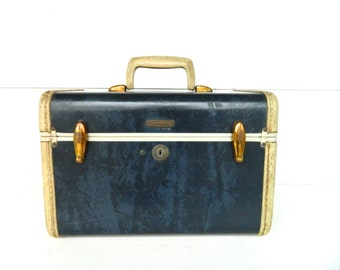 Vintage Train Case Blue Navy Marbled Samsonite