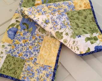 """Lap Quilt, Patchwork, Picnic Quilt, Throw, Table Cover, Handmade Blue & Yellow, 44.5"""" x 44"""", Summer Quilt"""