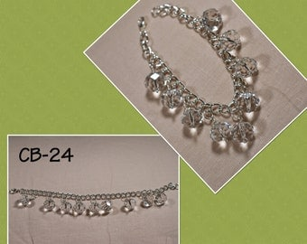 CB-24 Clear Faceted glass beaded charm bracelet