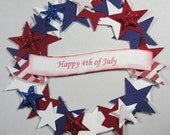 Patriotic Wreath Scrapbook Embellishments, Patriotic, 4th of July, Military, Cards, Verterans Day, Red White & Blue