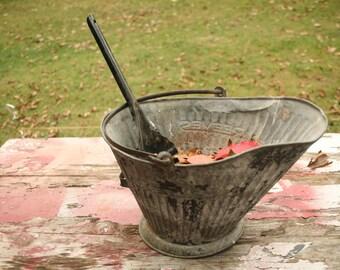 Mid Century Coal Bucket & Shovel, Scuttle Bucket, Fireplace Bucket, Ash Bucket, Cabin Decor, Fall Decor