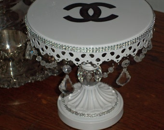Charming Hand Painted French Inspired White Metal Adorned with Crystals and Rhinestones Cupcake Pedestal Stand Plate
