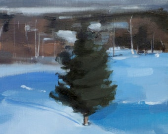Lone Pine in Sanbornton, NH (no.115) Oil Painting Snow Landscape Realism