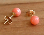 Natural Pink Coral stud earrings, Natural Pink Coral Bead Studs, 6 mm and/or 8 mm size bead, Sterling Silver and/or Gold posts and ear-backs
