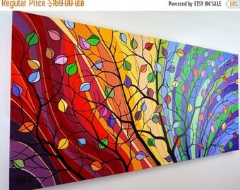 SALE 20% OFF Modern Tree Painting Large Abstract Landscape Whimsical Colorful Canvas Art Rainbow Over Bed Living Room Decor Dining Room 24x4