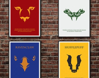 SALE 20% OFF The Houses of Hogwarts: All Four Houses Minimalist Harry Potter Poster