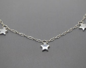 Triple Silver Star Necklace - Solid Sterling 925 Tiny Three Star Necklace Sophie Mama Mia
