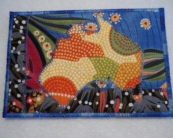 Aboriginal Fabric Postcard - Quilted Fabric Postcard  - Australian Fabric Postcard - Patchwork Fabric Postcard - Appliqued Fabric Postcard
