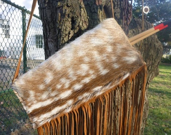 Plains style leather quiver, hair on Fallow deer hide, All natural, handmade, one of a kind quivers