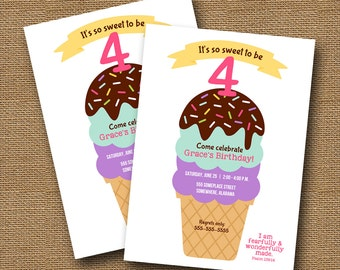 Icecream Party Invitation   Girl's Summer Birthday Party Invite   So Sweet to be (Fill in the Age)   Bible Verse Birthday   DIY PRINTABLE