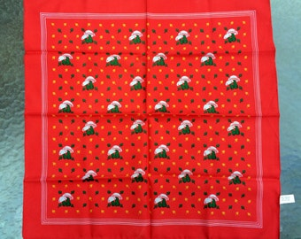 Fungi Kerchief -- Vivid red handkerchief patterned with countryside fungus -- Made in Italy