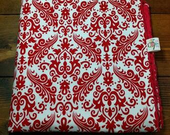 Baby Girl Blanket, Red Damask Red Dimple Dot Minky, Stroller Blanket, Modern Baby Blanket, Girl Designer Baby Accessories ITEM#335