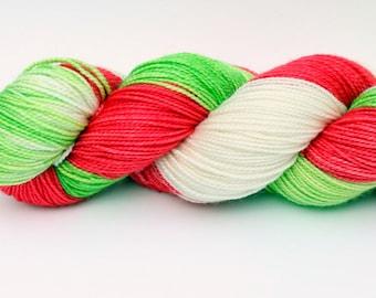 "Dip Dyed Sock Yarn, Superwash Merino and Silk Fingering Weight, in ""Holly Jolly"""