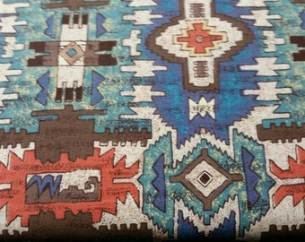 Native American Wild West Indian Geometric, brown, red, blue Print Fabric By the Yard