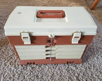 Vintage Plano 757 Brown Tan 4 Drawer with Top Access Fishing Tackle Box