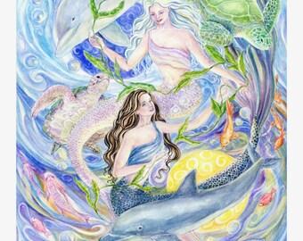Mermaids Art print, Yin-Yang Mermaids, Dolphins,Sea Turtles, Twin Mermaids,Fish 8 x10 art print