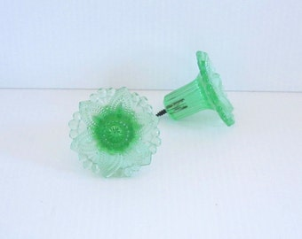Antique Green Glass Curtain Tie Backs