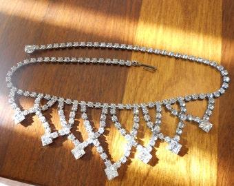 Vintage rhinestone choker necklace.  Bridal.  Wedding jewelry.
