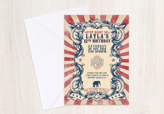 Vintage Carnival Invitation - Circus Invite - Vintage Poster - Printable Party Supplies