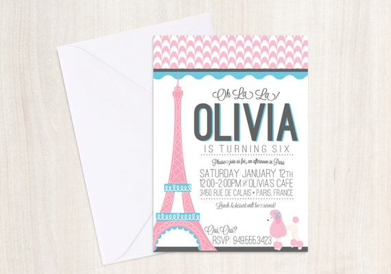 Custom Pink Poodle Paris Party invite - poodle party - french party - DIGITAL PARTY INVITE