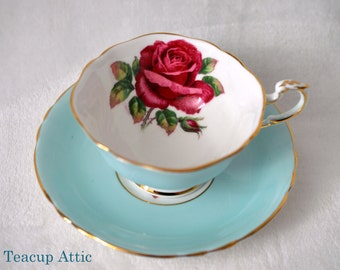 Paragon Signed By The Artist Reg Johnson Light Blue Teacup Set With Large Red Rose, English Bone China Tea Cup Set