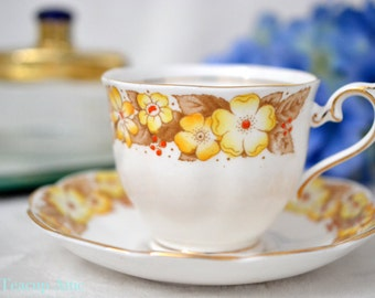 ON SALE Royal Albert Yellow Dorothy Teacup and Saucer, English Bone china Tea Cup Set, Garden Tea Party, Birthday Gift,  ca. 1927-1935