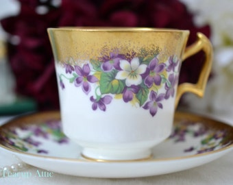 Royal Chelsea Teacup and Saucer Set With Purple Violets And Heavy Gold, English Bone China Tea Cup Set, Afternoon Tea Party, ca. 1940